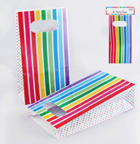 6pk Rainbow Stripe Party Bags