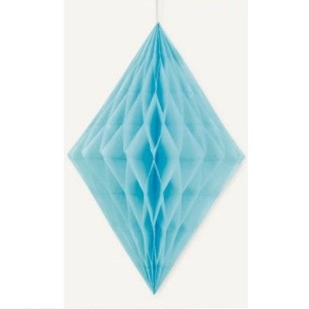 DIAMOND HONEYCOMB DECORATIONS 35.5cm - PALE BLUE