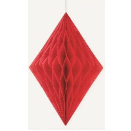 DIAMOND HONEYCOMB DECORATION 35.5cm - RED
