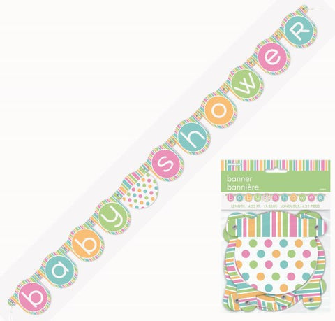 PASTEL BABY SHOWER JOINTED BANNER 1.32m (4.33 inches)