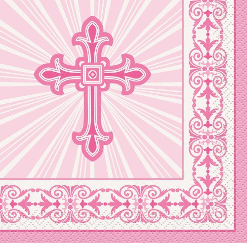 RADIANT CROSS PINK 16 LUNCHEON NAPKINS