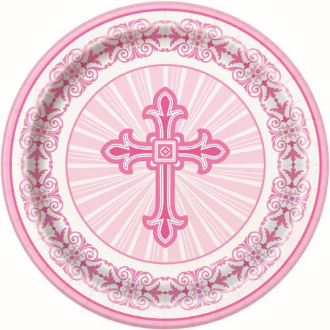 RADIANT CROSS PINK 8 X 18cm (7inch) PAPER PLATES