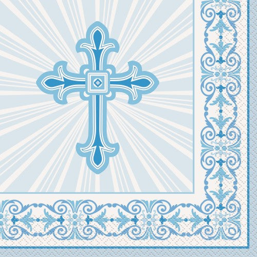 RADIANT CROSS BLUE 16 LUNCHEON NAPKINS