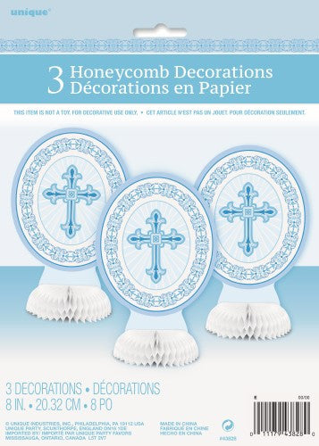 RADIANT CROSS BLUE 3 HONEYCOMB DECORATIONS 20cm 8inches