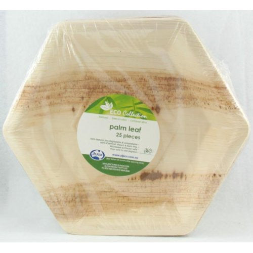 Palm Leaf Hexagonal Plate 9inch P25x4