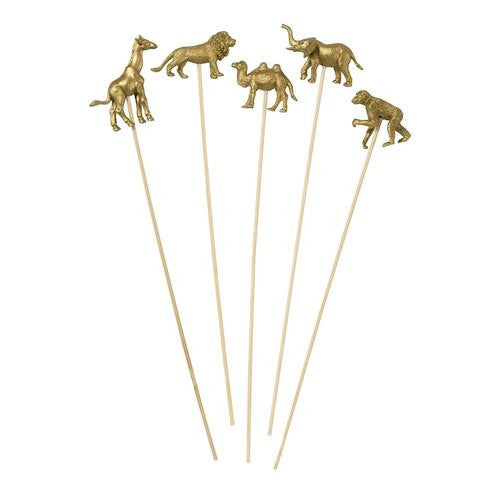 Gold Animal on Stick 8 Pk