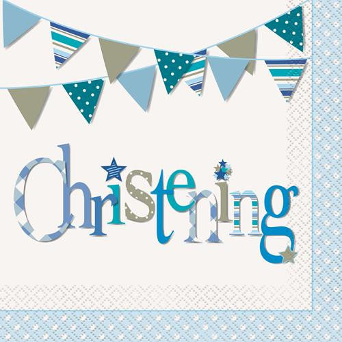 CHRISTENING BLUE 16 LUNCH NAPKINS