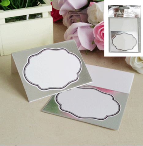 8pk Metallic Silver Invitation Cards + Envlopes