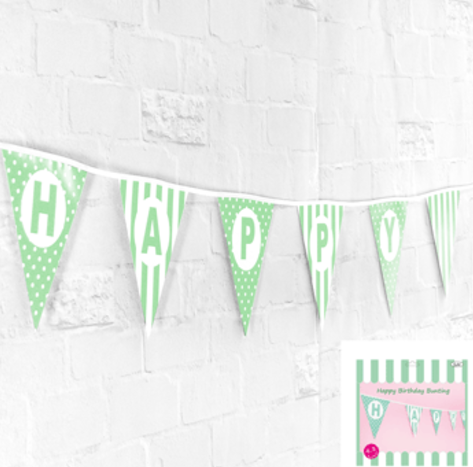 Happy Birthday Bunting in Green