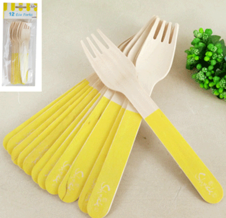 12pk Sorbet Eco Fork - Yellow