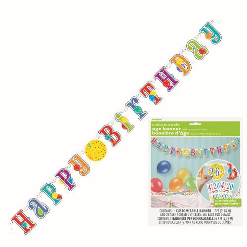 HAPPY BIRTHDAY JOINTED BANNER WITH AGE STICKERS 2.13m (7INCH)