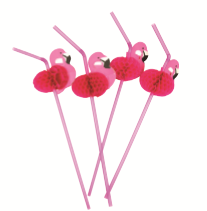 STRAW WITH HONEYCOMB FLAMINGO 12PK