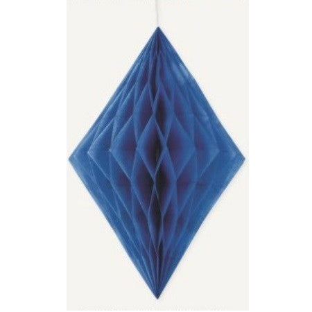 DIAMOND HONEYCOMB DECORATION 35.5cm - ROYAL BLUE