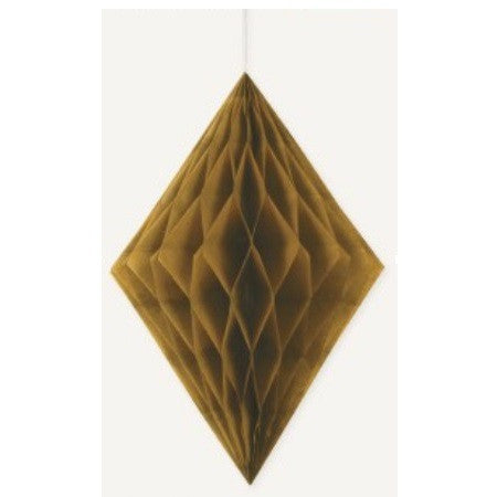 DIAMOND HONEYCOMB DECORATION 35.5cm - GOLD