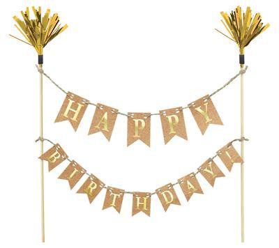Birthday Cake Topper Gold Wood with paper and foil 23.4cm