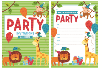 PAD INVITE 20SHT JUNGLE ANIMALS