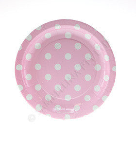 Pink with White Polkadots Cake Plate