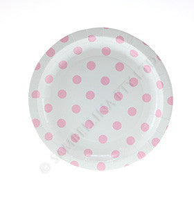 White with Pink Polkadots Cake Plate