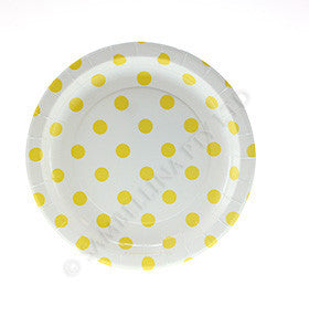 White with Yellow Polkadots Cake Plate