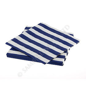 Navy Stripe Napkins pk 20