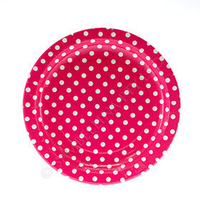 Polkadot Raspberry Pink Round Party Plate