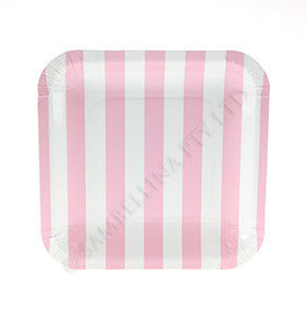 Candy Stripe Pink Square Plates