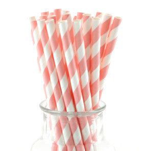 Pale Pink Striped Straws