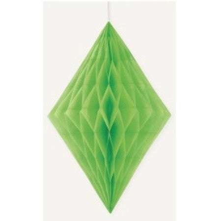 DIAMOND HONEYCOMB DECORATION 35.5cm - LIME GREEN