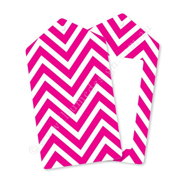 Chevron Hot Pink - Tag - Pack of 12