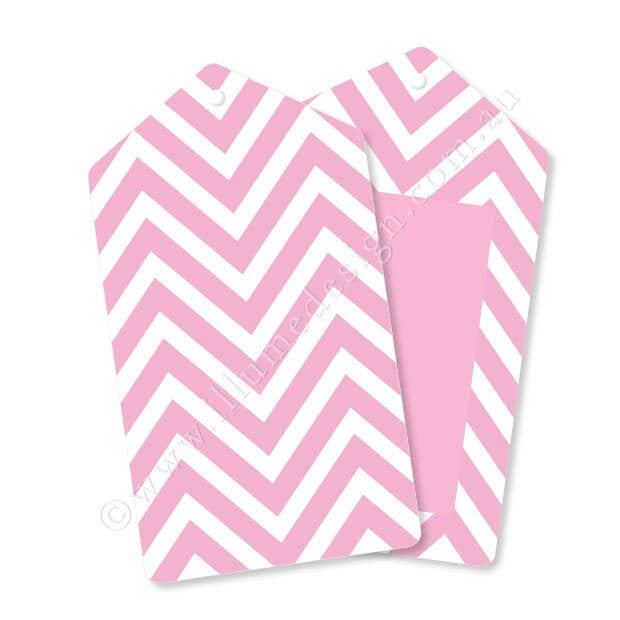 Chevron Pink - Tag - Pack of 12