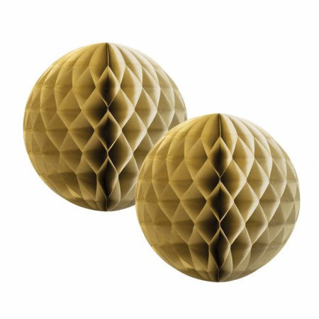 HONEYCOMB BALL METALLIC GOLD 15CM 2 PK
