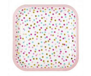 "POP SQUARE DINNER PLATE 9"" ASSTD PINK  TURQ & GOLD FOIL 8PK"