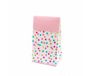 POP TREAT BAG DOT ASSTD PINK  TURQ & GOLD FOIL 8PK