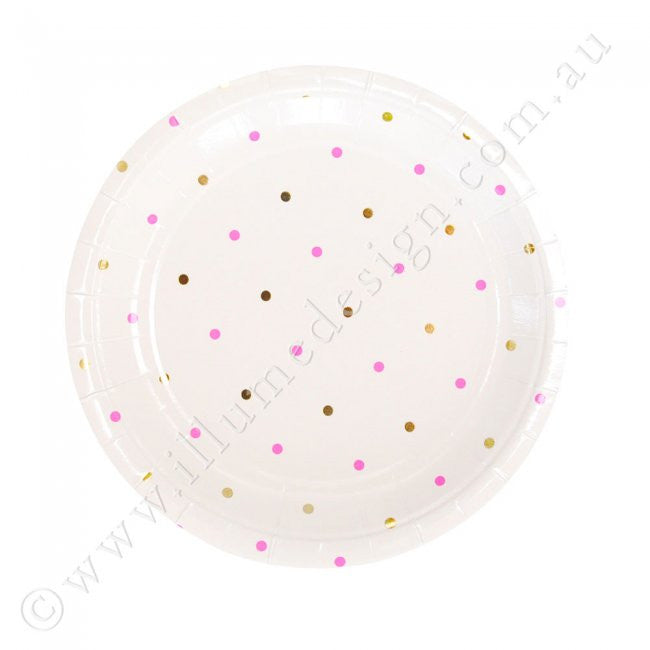 Gold & Pink Spots Dessert Plate -Pack of 10