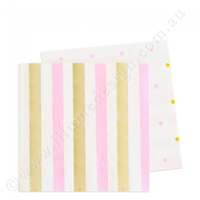 Gold & Pink  Stripe & Spots Cocktail Napkin - Pack of 20