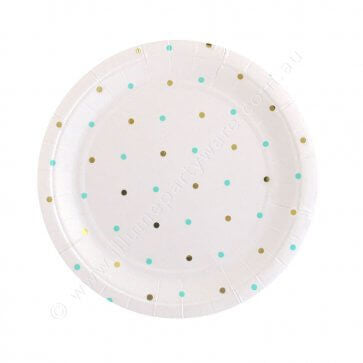 Gold & Mint Dots Dessert Plate - Pack of 10