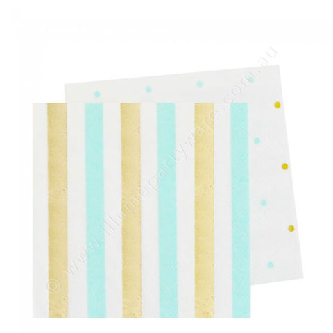Gold & Mint  Stripe & Dots Cocktail Napkin - Pack of 20