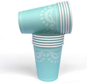lovely lace tiffanesque blue paper cups