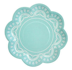 lovely lace tiffanesque blue paper plates