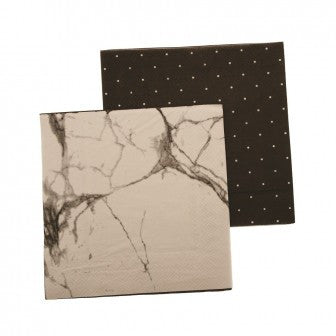 napkins - reversible 3ply - marble-black pegboard