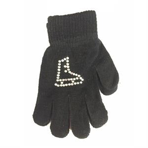 Ice Skate Rhinestone Gloves