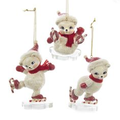 Ice Skating Polar Bear Ornament J8724