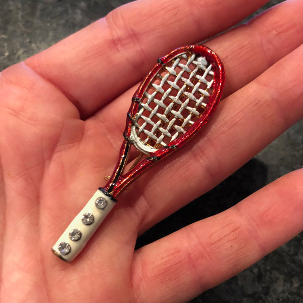 Red Tennis Racquet Pin