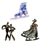 Rhinestone Accented Ice Skating Pins