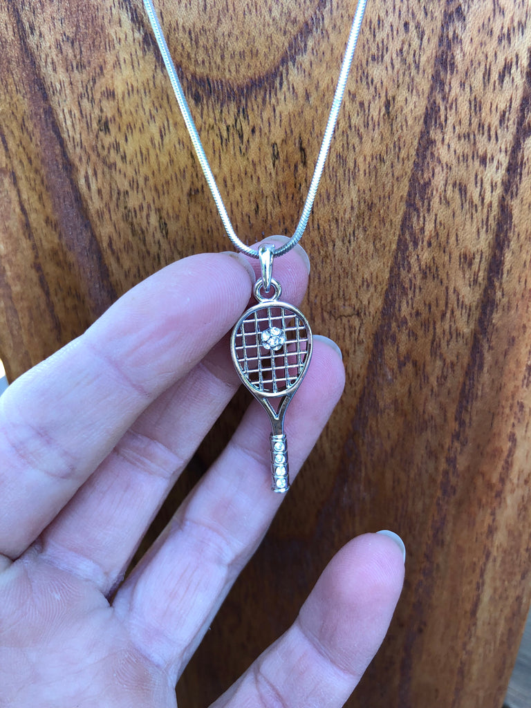 Silver Tennis Racquet and Ball Necklace -R4
