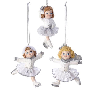 White and Silver Girl Ice Skater Ornaments - C6763