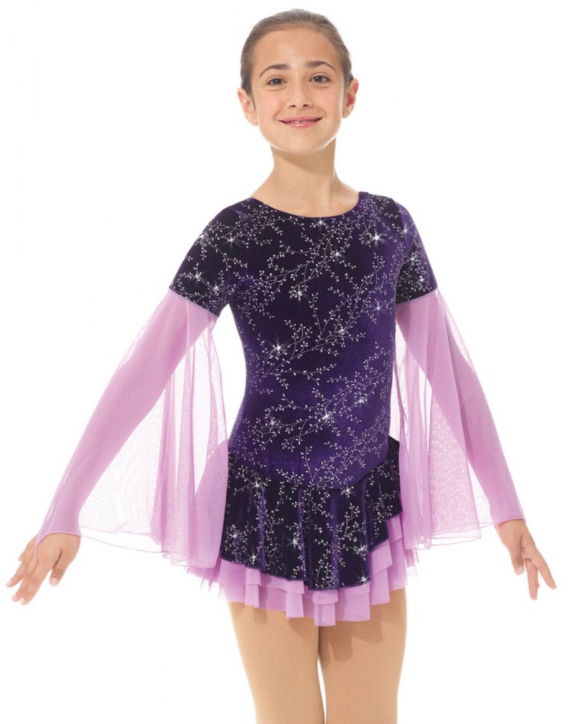 Frosted Flower Flowing Sleeves Purple Skating Dress