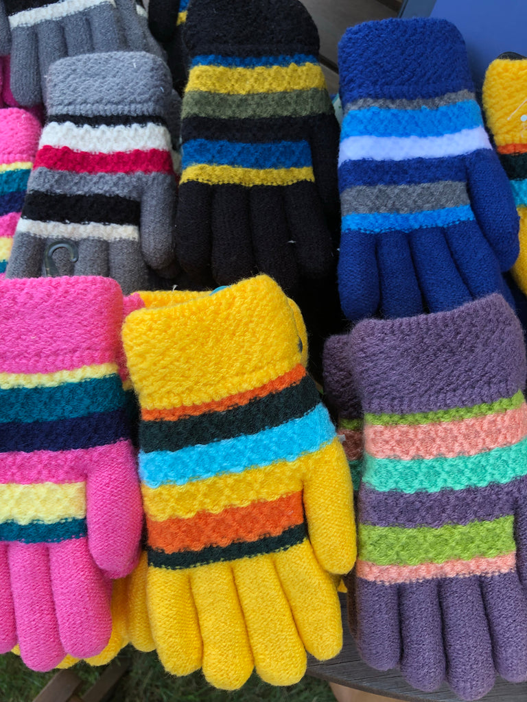 Kids Striped Knit Plush Lined Gloves Youth 7-16