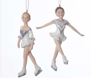 Silver and White Ice Skater Ornament - C7637