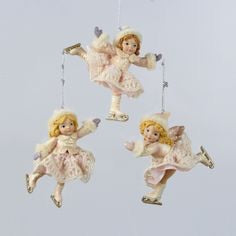 Pink Dress Ice Skating Girl Ornament C8600